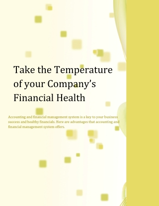 Take the Temperature of your Company's Financial Health