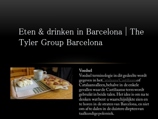Eten & drinken in Barcelona | The Tyler Group Barcelona