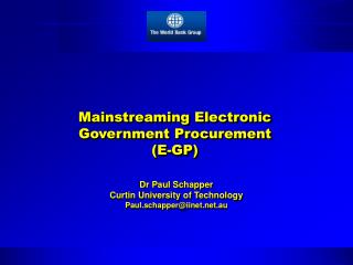 Mainstreaming Electronic Government Procurement  E-GP
