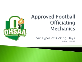 Approved Football Officiating Mechanics