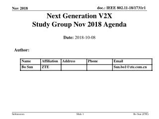 Next Generation V2X Study Group Nov 2018 Agenda