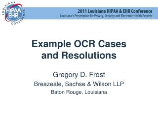 Example OCR Cases and Resolutions