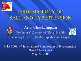 EPIDEMIOLOGY OF  SALT AND HYPERTENSION