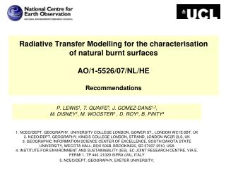 Radiative Transfer Modelling for the characterisation  of natural burnt surfaces AO/1-5526/07/NL/HE Recommendations