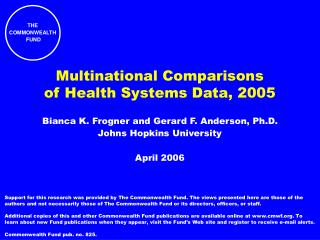 Multinational Comparisons of Health Systems Data, 2005