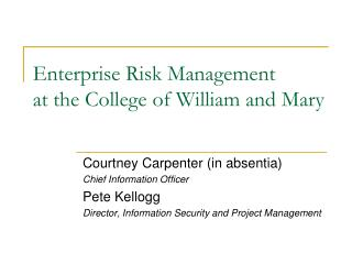 Enterprise Risk Management at the College of William and Mary