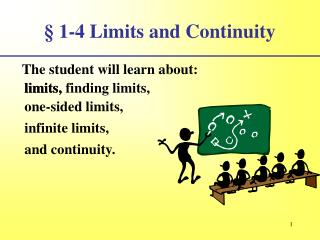 § 1-4 Limits and Continuity