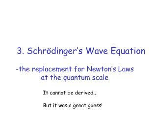 3. Schrödinger's Wave Equation