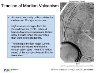 Timeline  of  Martian Volcanism