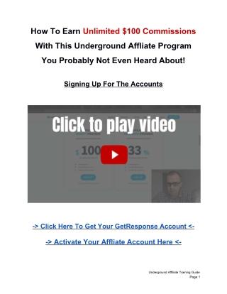 Underground Affiliate Training Guide