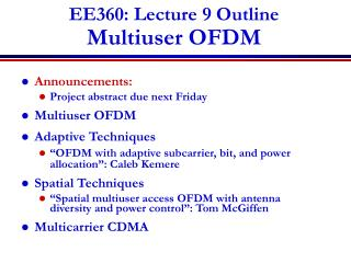 EE360: Lecture 9 Outline Multiuser OFDM