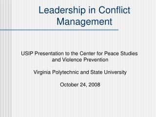 Leadership in Conflict Management