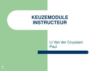 KEUZEMODULE  INSTRUCTEUR
