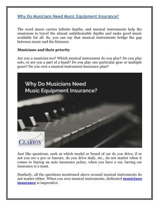 Why Do Musicians Need Music Equipment Insurance