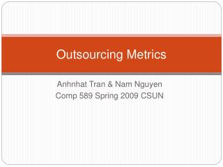 Outsourcing Metrics