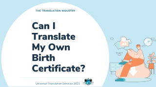 How Can I Translate My Own Birth Certificate