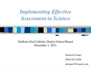 Implementing Effective  Assessment in Science