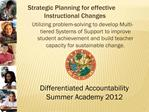 Strategic Planning for effective Instructional Changes