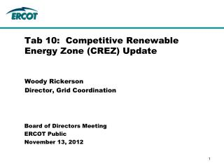 Tab 10:  Competitive Renewable Energy Zone (CREZ) Update