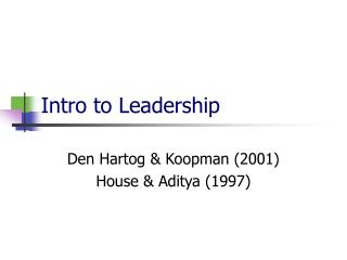 Intro to Leadership