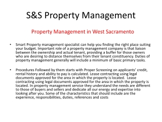 Property Management in west Sacramento