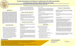 Procedural description and limitations of collaborating with health care providers  in lead poisoning screening in Miami