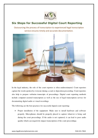 Six Steps for Successful Digital Court Reporting