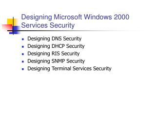 Designing Microsoft Windows 2000 Services Security