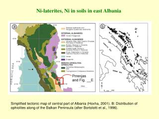 Ni-laterites, Ni in soils in east Albania
