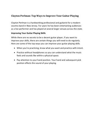 Clayton Perlman: Ways to Improve Your Guitar Playing
