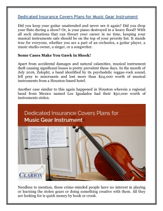 Dedicated Insurance Covers Plans for Music Gear Instrument