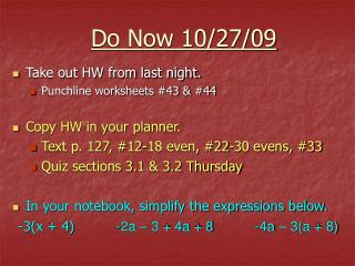 Do Now 10/27/09