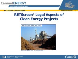RETScreen �  Legal Aspects of Clean Energy Projects