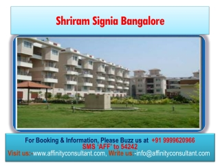 Shriram Signia Project|Buy|9999620966 !