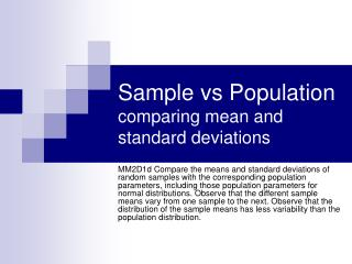 Sample vs Population comparing mean and standard deviations