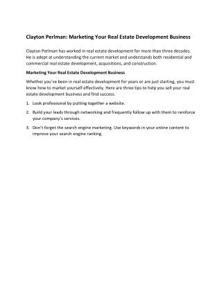 Clayton Perlman Marketing Your Real Estate Development Business