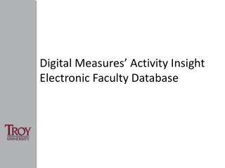 Digital Measures  Activity Insight Electronic Faculty Database
