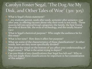 "Carolyn Foster Segal, ""The Dog Ate My Disk, and Other Tales of Woe"" (301-305)"