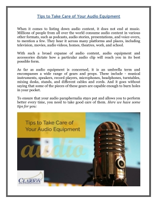 Tips to Take Care of Your Audio Equipment