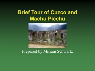 Brief Tour of Cuzco and Machu Picchu