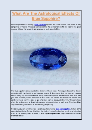 What Are The Astrological Effects Of Blue Sapphire