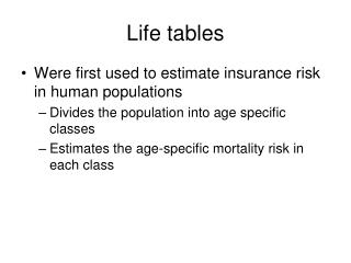 Life tables