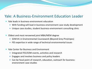 Yale: A Business-Environment Education Leader