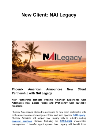 New Client: NAI Legacy