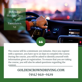 Defensive Driving Class in Tarrytown, NY