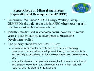 Expert Group on Mineral and Energy Exploration and Development GEMEED