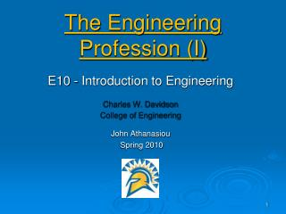 The Engineering Profession (I)