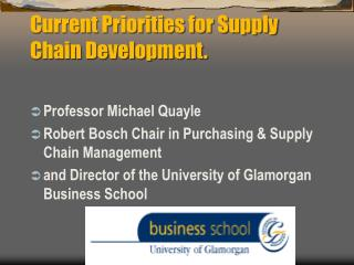 Current Priorities for Supply Chain Development.