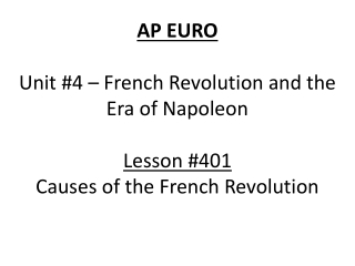Unit 2: The Enlightenment, The French Revolution  Napoleon