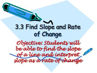 3.3 Find Slope and Rate of Change
